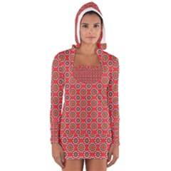 Floral Seamless Pattern Vector Women s Long Sleeve Hooded T Shirt