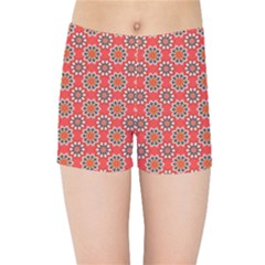 Floral Seamless Pattern Vector Kids Sports Shorts