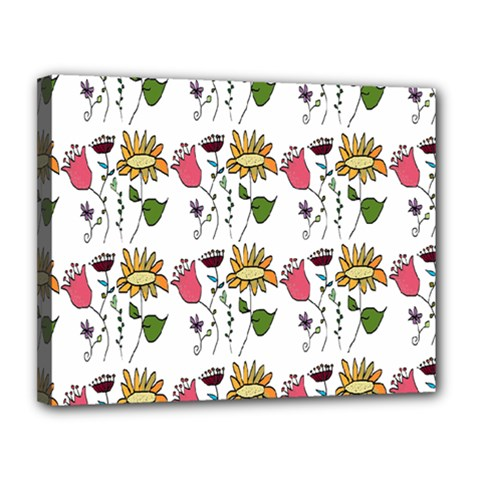 Handmade Pattern With Crazy Flowers Canvas 14  X 11