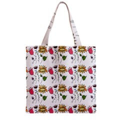 Handmade Pattern With Crazy Flowers Zipper Grocery Tote Bag by BangZart