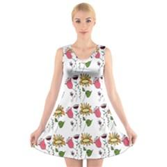 Handmade Pattern With Crazy Flowers V Neck Sleeveless Skater Dress