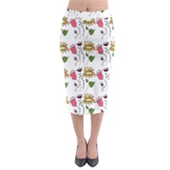 Handmade Pattern With Crazy Flowers Midi Pencil Skirt by BangZart