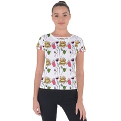 Handmade Pattern With Crazy Flowers Short Sleeve Sports Top