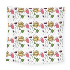 Handmade Pattern With Crazy Flowers Square Tapestry (large) by BangZart