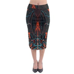 Doodle Art Pattern Background Midi Pencil Skirt