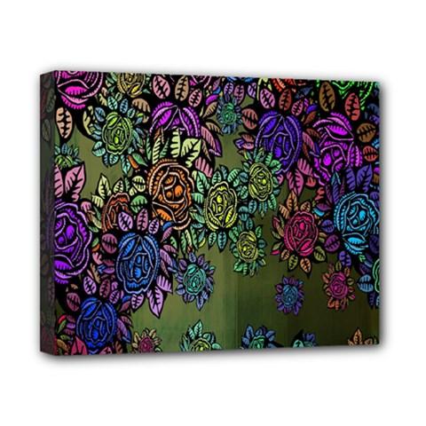 Grunge Rose Background Pattern Canvas 10  X 8