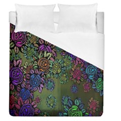 Grunge Rose Background Pattern Duvet Cover (queen Size)