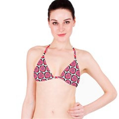 Wheel Stones Pink Pattern Abstract Background Bikini Top