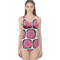 Wheel Stones Pink Pattern Abstract Background One Piece Swimsuit