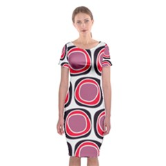 Wheel Stones Pink Pattern Abstract Background Classic Short Sleeve Midi Dress