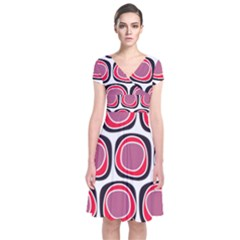 Wheel Stones Pink Pattern Abstract Background Short Sleeve Front Wrap Dress