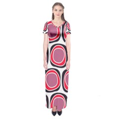 Wheel Stones Pink Pattern Abstract Background Short Sleeve Maxi Dress