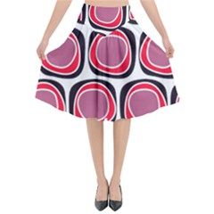 Wheel Stones Pink Pattern Abstract Background Flared Midi Skirt