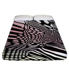 Abstract Fauna Pattern When Zebra And Giraffe Melt Together Fitted Sheet (Queen Size)