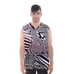 Abstract Fauna Pattern When Zebra And Giraffe Melt Together Men s Basketball Tank Top