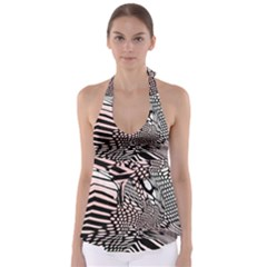 Abstract Fauna Pattern When Zebra And Giraffe Melt Together Babydoll Tankini Top