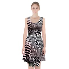 Abstract Fauna Pattern When Zebra And Giraffe Melt Together Racerback Midi Dress