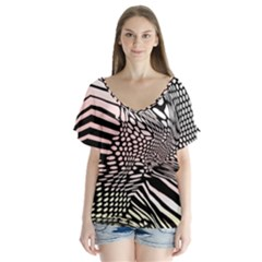 Abstract Fauna Pattern When Zebra And Giraffe Melt Together Flutter Sleeve Top