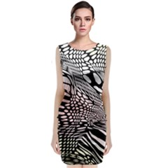 Abstract Fauna Pattern When Zebra And Giraffe Melt Together Sleeveless Velvet Midi Dress