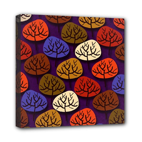 Colorful Trees Background Pattern Mini Canvas 8  X 8  by BangZart