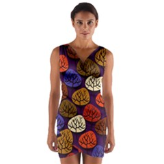 Colorful Trees Background Pattern Wrap Front Bodycon Dress