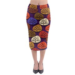 Colorful Trees Background Pattern Midi Pencil Skirt