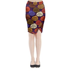 Colorful Trees Background Pattern Midi Wrap Pencil Skirt
