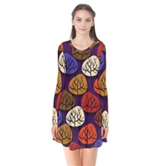 Colorful Trees Background Pattern Flare Dress