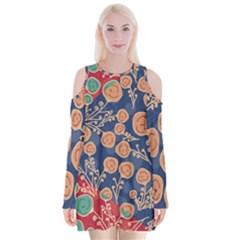 Floral Seamless Pattern Vector Texture Velvet Long Sleeve Shoulder Cutout Dress