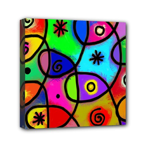 Digitally Painted Colourful Abstract Whimsical Shape Pattern Mini Canvas 6  X 6  by BangZart