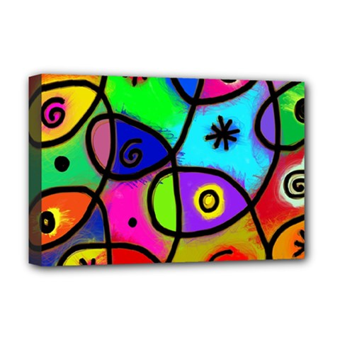 Digitally Painted Colourful Abstract Whimsical Shape Pattern Deluxe Canvas 18  X 12