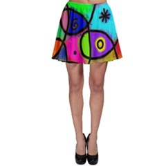Digitally Painted Colourful Abstract Whimsical Shape Pattern Skater Skirt