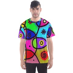 Digitally Painted Colourful Abstract Whimsical Shape Pattern Men s Sports Mesh Tee