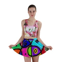 Digitally Painted Colourful Abstract Whimsical Shape Pattern Mini Skirt