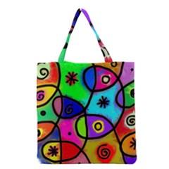 Digitally Painted Colourful Abstract Whimsical Shape Pattern Grocery Tote Bag by BangZart