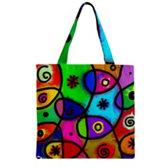 Digitally Painted Colourful Abstract Whimsical Shape Pattern Zipper Grocery Tote Bag