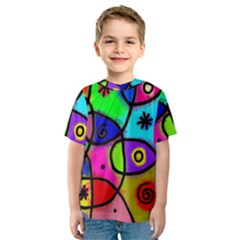 Digitally Painted Colourful Abstract Whimsical Shape Pattern Kids  Sport Mesh Tee