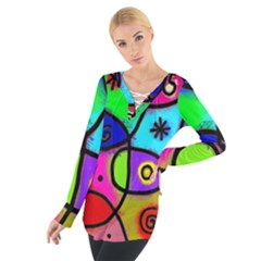 Digitally Painted Colourful Abstract Whimsical Shape Pattern Women s Tie Up Tee