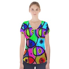 Digitally Painted Colourful Abstract Whimsical Shape Pattern Short Sleeve Front Detail Top