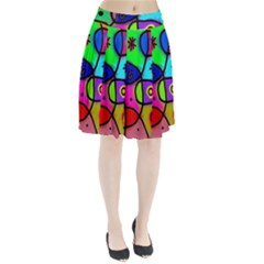 Digitally Painted Colourful Abstract Whimsical Shape Pattern Pleated Skirt