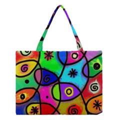Digitally Painted Colourful Abstract Whimsical Shape Pattern Medium Tote Bag by BangZart
