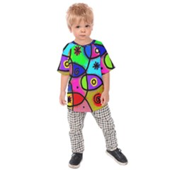 Digitally Painted Colourful Abstract Whimsical Shape Pattern Kids Raglan Tee