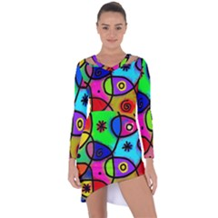 Digitally Painted Colourful Abstract Whimsical Shape Pattern Asymmetric Cut Out Shift Dress