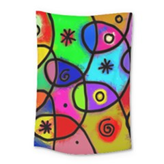 Digitally Painted Colourful Abstract Whimsical Shape Pattern Small Tapestry by BangZart