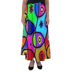 Digitally Painted Colourful Abstract Whimsical Shape Pattern Flared Maxi Skirt