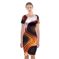 Colourful Abstract Background Design Classic Short Sleeve Midi Dress