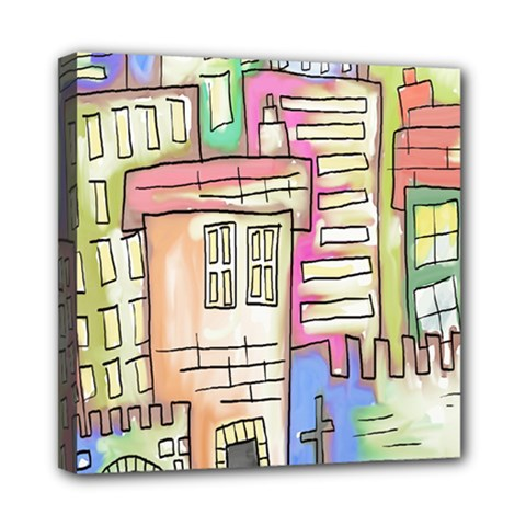 A Village Drawn In A Doodle Style Mini Canvas 8  X 8  by BangZart