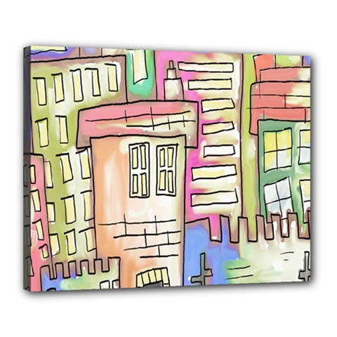 A Village Drawn In A Doodle Style Canvas 20  X 16  by BangZart