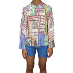 A Village Drawn In A Doodle Style Kids  Long Sleeve Swimwear