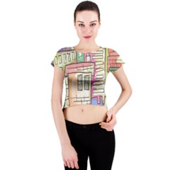 A Village Drawn In A Doodle Style Crew Neck Crop Top